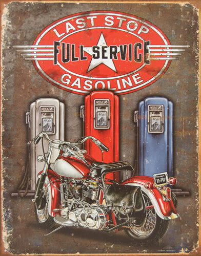 LAST STOP FULL SERVICE - LARGE METAL TIN SIGN 40.6CM X 31.7CM GENUINE AMERICAN MADE