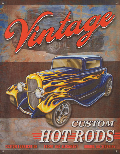 VINTAGE HOT RODS - LARGE METAL TIN SIGN 40.6CM X 31.7CM GENUINE AMERICAN MADE
