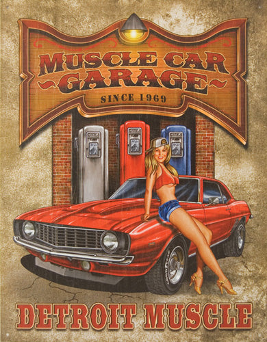 DETROIT MUSCLE - LARGE METAL TIN SIGN 40.6CM X 31.7CM GENUINE AMERICAN MADE