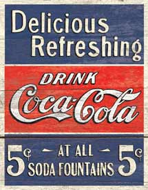 COKE - DELICIOUS 5 CENTS -LARGE METAL TIN SIGN 40.6CM X 31.7CM GENUINE AMERICAN MADE