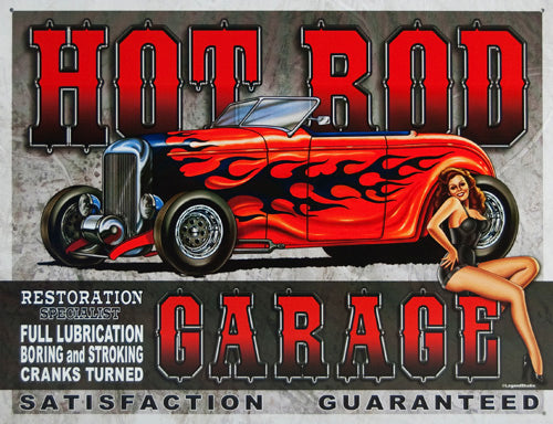 HOT ROD GARAGE - LARGE METAL TIN SIGN 31.7CM X 40.6CM GENUINE AMERICAN MADE