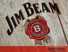 JIM BEAM - WOODCUT - LARGE METAL TIN SIGN 31.7CM X 40.6CM GENUINE AMERICAN MADE