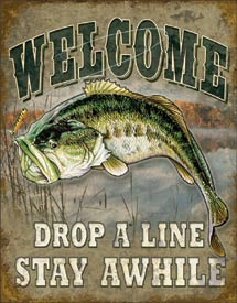 WELCOME - BASS FISHING - LARGE METAL TIN SIGN 40.6CM X 31.7CM GENUINE AMERICAN MADE
