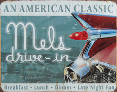MEL'S DINER - CLASSIC - LARGE METAL TIN SIGN 31.7CM X 40.6CM GENUINE AMERICAN MADE