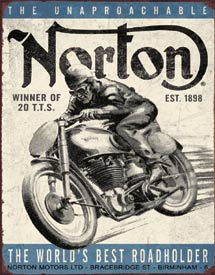 NORTON - WINNER - LARGE METAL TIN SIGN 40.6CM X 31.7CM GENUINE AMERICAN MADE