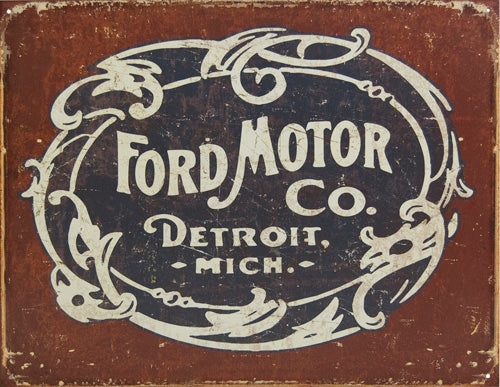 FORD HISTORIC LOGO - LARGE METAL TIN SIGN 31.7CM X 40.6CM GENUINE AMERICAN MADE