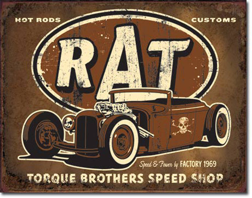 TORQUE - RAT ROD - LARGE METAL TIN SIGN 31.7CM X 40.6CM GENUINE AMERICAN MADE
