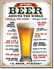 HOW TO ORDER A BEER - LARGE METAL TIN SIGN 40.6CM X 31.7CM GENUINE AMERICAN MADE