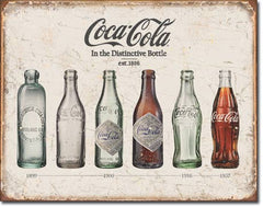 COKE - BOTTLE EVOLUTION - LARGE METAL TIN SIGN 31.7CM X 40.6CM GENUINE AMERICAN MADE