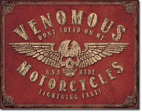 VENOMOUS MOTORCYLES - LARGE METAL TIN SIGN 31.7CM X 40.6CM GENUINE AMERICAN MADE