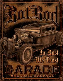 RAT ROD GARAGE - LARGE METAL TIN SIGN 40.6CM X 31.7CM GENUINE AMERICAN MADE