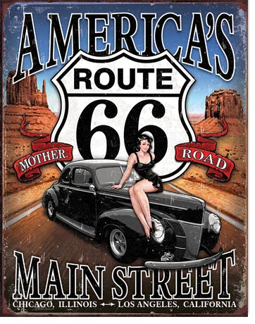 ROUTE 66 - AMERICA'S MAIN STREET - LARGE METAL TIN SIGN 40.6CM X 31.7CM GENUINE AMERICAN MADE