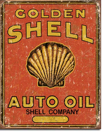 SHELL AUTO OIL - LARGE METAL TIN SIGN 40.6CM X 31.7CM GENUINE AMERICAN MADE