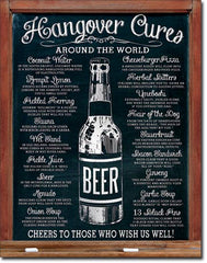 HANGOVER CURES - LARGE METAL TIN SIGN 40.6CM X 31.7CM GENUINE AMERICAN MADE