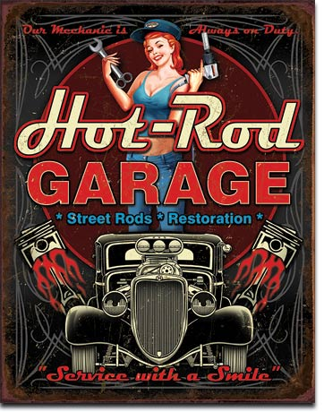 HOT ROD GARAGE - PISTONS - LARGE METAL TIN SIGN 40.6CM X 31.7CM GENUINE AMERICAN MADE