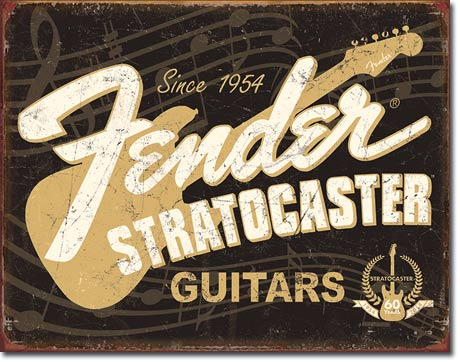 FENDER STRATOCASTER 60TH - LARGE METAL TIN SIGN 31.7CM X 40.6CM GENUINE AMERICAN MADE
