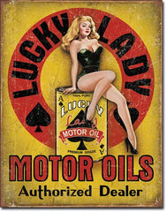 LUCKY LADY MOTOR OILS - LARGE METAL TIN SIGN 40.6CM X 31.7CM GENUINE AMERICAN MADE