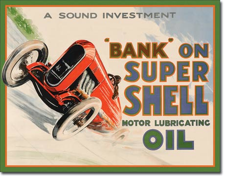 SHELL - BANK ON - LARGE METAL TIN SIGN 31.7CM X 40.6CM GENUINE AMERICAN MADE