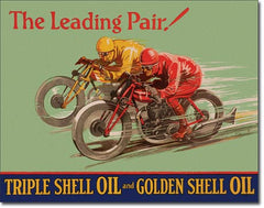 SHELL - WINNING PAIR - LARGE METAL TIN SIGN 31.7CM X 40.6CM GENUINE AMERICAN MADE