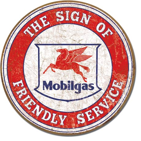 MOBIL - FRIENDLY SERVICE - ROUND METAL TIN SIGN 29.8CM DIAMETER GENUINE AMERICAN MADE