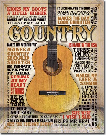 COUNTRY - MADE IN AMERICA - LARGE METAL TIN SIGN 40.6CM X 31.7CM GENUINE AMERICAN MADE