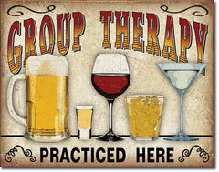 GROUP THERAPY - LARGE METAL TIN SIGN 31.7CM X 40.6CM GENUINE AMERICAN MADE