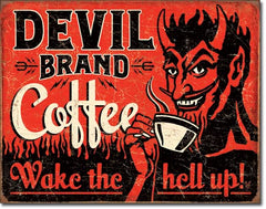 DEVIL BRAND COFFEE - LARGE METAL TIN SIGN 31.7CM X 40.6CM GENUINE AMERICAN MADE