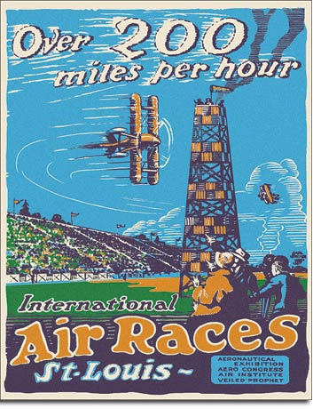 ST LOUIS AIR RACES - LARGE METAL TIN SIGN 40.6CM X 31.7CM GENUINE AMERICAN MADE