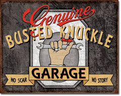 BUSTED KNUCKLE GARAGE - LARGE METAL TIN SIGN 31.7CM X 40.6CM GENUINE AMERICAN MADE
