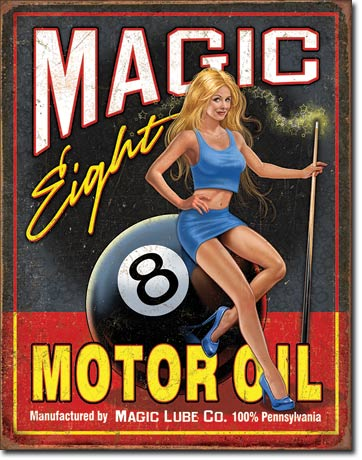 MAGIC EIGHT MOTOR OIL - LARGE METAL TIN SIGN 40.6CM X 31.7CM GENUINE AMERICAN MADE
