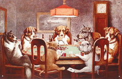 7 DOGS PLAYING POKER - LARGE METAL TIN SIGN 31.7CM X 40.6CM GENUINE AMERICAN MADE