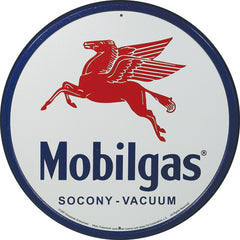 MOBIL GAS - PEGASUS - ROUND METAL TIN SIGN 29.8CM DIAMETER GENUINE AMERICAN MADE