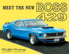 FORD - MUSTANG BOSS - LARGE METAL TIN SIGN 31.7CM X 40.6CM GENUINE AMERICAN MADE
