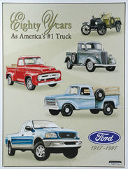 FORD - 80 YEARS OF PICKUPS - LARGE METAL TIN SIGN 40.6CM X 31.7CM