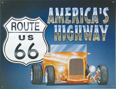 ROUTE 66 - ROADSTER - LARGE METAL TIN SIGN 31.7CM X 40.6CM GENUINE AMERICAN MADE