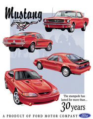 MUSTANG 30 YEAR TRIBUTE - LARGE METAL TIN SIGN 40.6CM X 31.7CM GENUINE AMERICAN MADE
