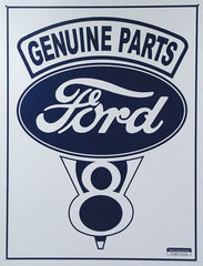 FORD - GENUINE V8 - LARGE METAL TIN SIGN 40.6CM X 31.6 GENUINE AMERICAN MADE