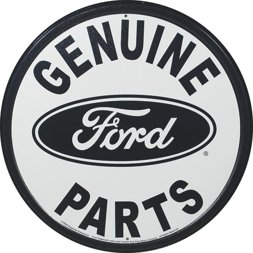 FORD - GENUINE PARTS - ROUND METAL TIN SIGN 29.8CM DIAMETER GENUINE AMERICAN MADE