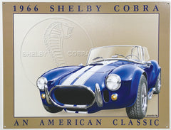 SHELBY COBRA - LARGE METAL TIN SIGN 31.7CM X 40.6CM GENUINE AMERICAN MADE