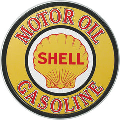 SHELL MOTOR OIL - ROUND METAL TIN SIGN 29.8CM DIAMETER GENUINE AMERICAN MADE