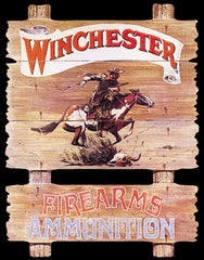 WINCHESTER - EXPRESS RIDER - LARGE METAL TIN SIGN 40.6CM X 31.6 GENUINE AMERICAN MADE