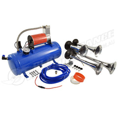 4 TRUMPET AIR HORN KIT W/6LT TANK & TOP MOUNTED COMPRESSOR, 12V 130DB