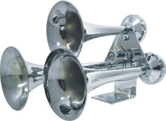 CHROME TRUCK TRAIN AIR HORNS 12V 24V LOUD KENWORTH, MACK, PETERBILT