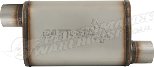 "OUTLAW T-409 STAINLESS STEEL OFFSET MUFFLER OFFSET/OFFSET 2-1/2"" PERFORMANCE"