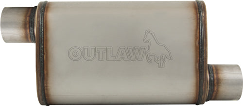 "OUTLAW T-409 STAINLESS STEEL OFFSET MUFFLER OFFSET/OFFSET 3"" PERFORMANCE"