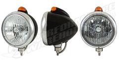 "Black ""GUIDE"" Headlight Crystal H4 Halogen w/Amber LED Top Light Amber Lens"