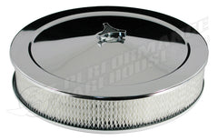 "AIR CLEANER CHROME 14"" X 3"" RECESSED BASE 5-1/8"" NECK HOLLEY, EDELBROCK, ROCKESTER, QUADRAJET"