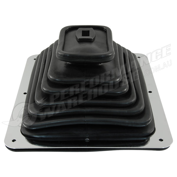 "LARGE RUBBER UNIVERSAL SHIFTER BOOT With CHROME PLATE 7-3/4"" x 8-3/4"""