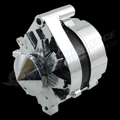 CHROME FORD 1G STYLE 100AMP ALTERNATOR WITH NOSE COVER, SUITS EXTERNAL REGULATOR