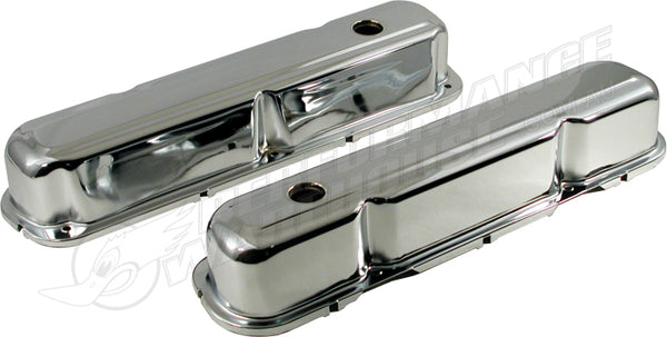 NO LOGO CHRYSLER SMALL BLOCK LATE 318 340 360 CHROME STEEL ROCKER COVERS PAIR